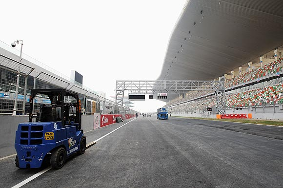 Preparations continue on the Buddh International circuit track