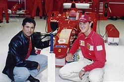 Michael Schumacher (right) with Sachin Tendulkar