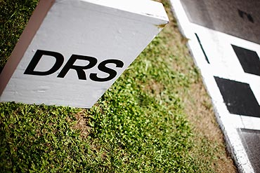 A DRS activation zone marker is seen at the Circuit de Catalunya in Spain