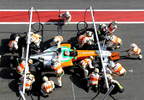 Force India's Paul di Resta in the pits
