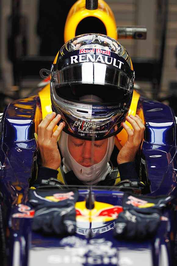 Red Bull's Sebastian Vettel during the first practice session