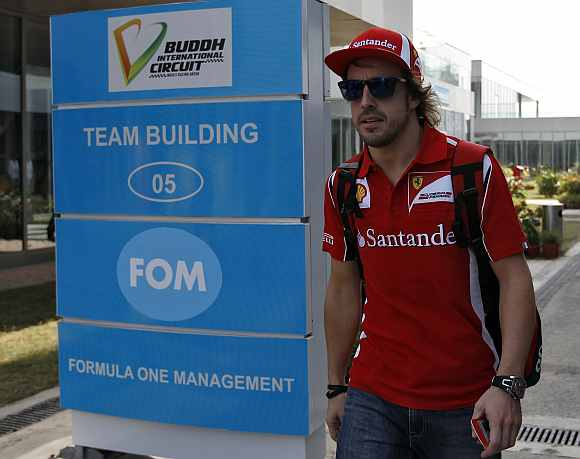 Fernando Alonso at Buddh International Circuit