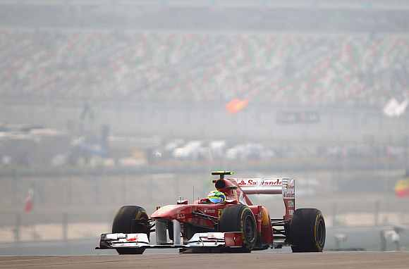 Ferrari's Felipe Massa during practice for the Indian Formula One Grand Prix at the Buddh International Circuit