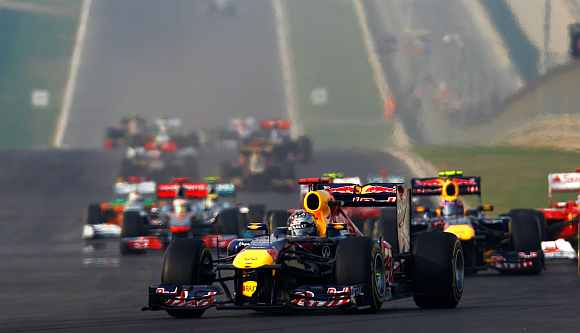 Sebastian Vettel drives during the Indian Grand Prix