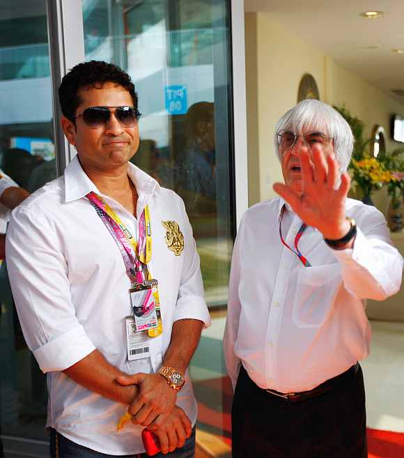 Sachin Tendulkar with Bernie Ecclestone ahead of the Indian Grand Prix