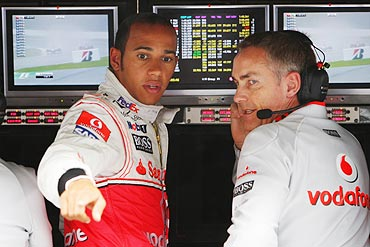Lewis Hamilton (left) with team principal Martin Whitmarsh