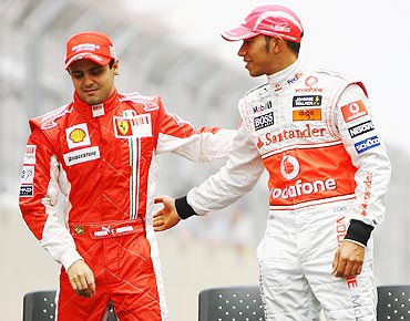Lweis Hamilton (right) with Felipe Massa