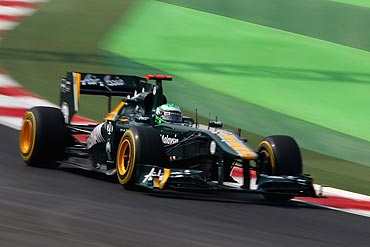 Heikki Kovalainen in action during the Indian GP