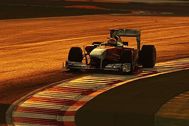 Adrian Sutil drives during the Indian Formula One Grand Prix