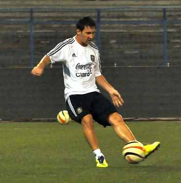 Lionel Messi in a practice session in Kolkata