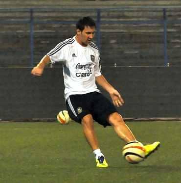 Lionel Messi in a practice session in Kolkata