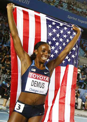 Lashinda Demus of the U.S. celebrates winning the women's 400 metres hurdles final at the IAAF World Championships in Daegu