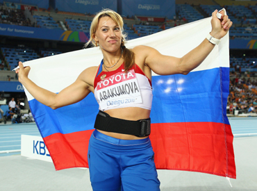 Maria Abakumova of Russia celebrates victory in the women's javelin final