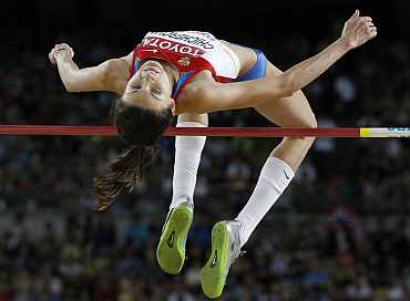 Anna Chicherova of Russia competes during the women's high jump final at the IAAF World Athletics Championships in Daegu