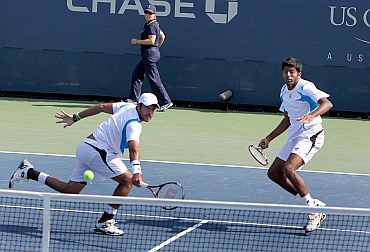 Rohan Bopanna and Aisam-ul-Haq Qureshi in action at the US Open