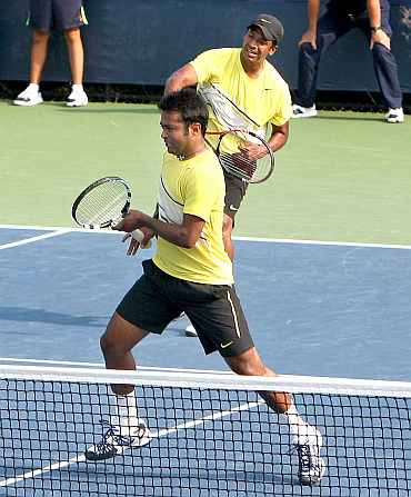 LEander Paes and Mahesh Bhupathi in action