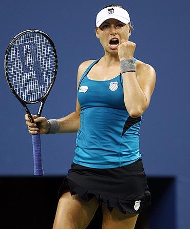 Vera Zvonareva celebrates after defeating Sabine Lisicki