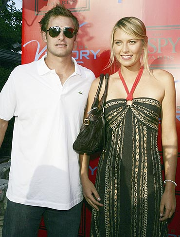 Andy Roddick and Maria Sharapova at a party in 2005