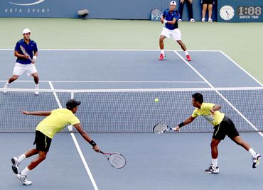Paes-Bhupathi and Somdev-Conrad battle it out