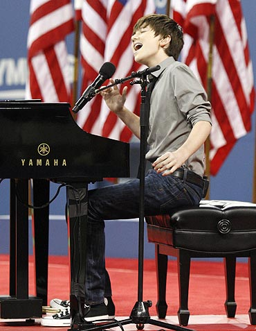 American pop, rock singer-songwriter and pianist Greyson Chance performs at the opening night of the US Open