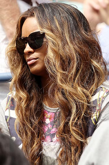 American singer Ciara watches the match between Tsonga and Fish