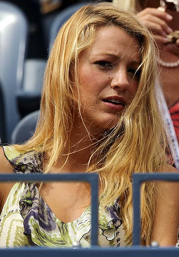 Actress Blake Lively watches the match between Serena Williams and Ana Ivanovic