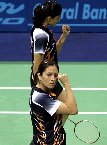 Jwala Gutta with doubles partner Ashwini Ponappa