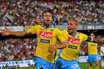 Hugo Campagnaro celebrates with his team-mate Paolo Cannavaro (right) after scoring a goal during the Serie A match against AC Cesena at Dino Manuzzi Stadium on Saturday