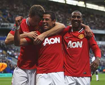Javier Hernandez celebrates after scoring against Bolton Wanderers