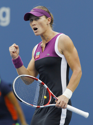 Samantha Stosur of Australia celebrates a point against Serena Williams of the U.S. during their finals match at the U.S. Open