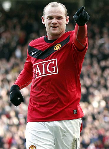 Manchester United's Wayne Rooney celebrates after scoring a goal