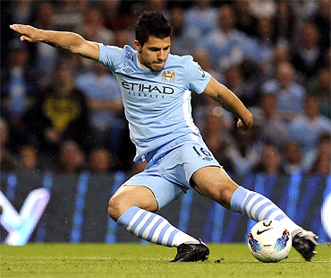 Manchester City's Sergio Aguero makes a goal attempt during the English Premier League match