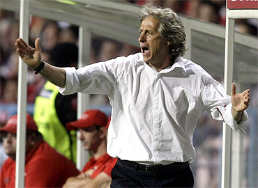 Benfica's coach Jorge Jesus reacts during their Portuguese Premier League soccer match