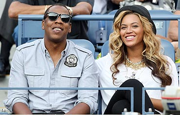 Jay-Z and Beyonce watch the US Open men's final between Rafael Nadal and Novak Djokovic