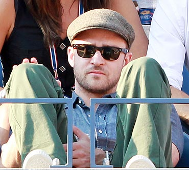 Actor-singer Justin Timberlake watches the US Open men's final between Rafael Nadal and Novak Djokovic