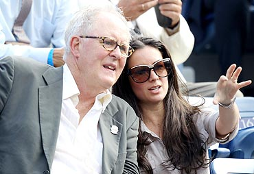 Actor John Lithgow watches the US Open final between Rafael Nadal and Novak Djokovic