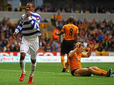 DJ Campbell of Queens Park Rangers celebrates his goal against Wolverhampton Wanderers