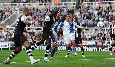 Newcastle's Demba Ba scores against Swansea