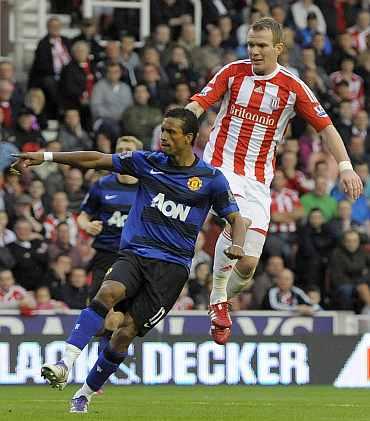 Manchester United's Nani celebrates after scoring