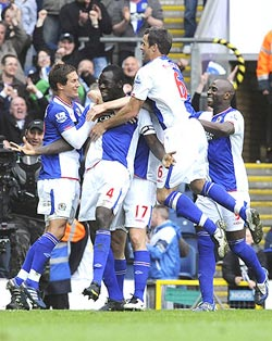 Blackburn players celebrate