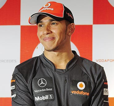 Lewis Hamilton during a news conference in Bangalore on Tuesday