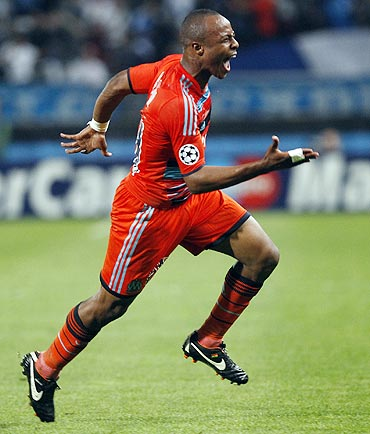 Olympique Marseille's Andre Ayew celebrates after scoring against Borussia Dortmund
