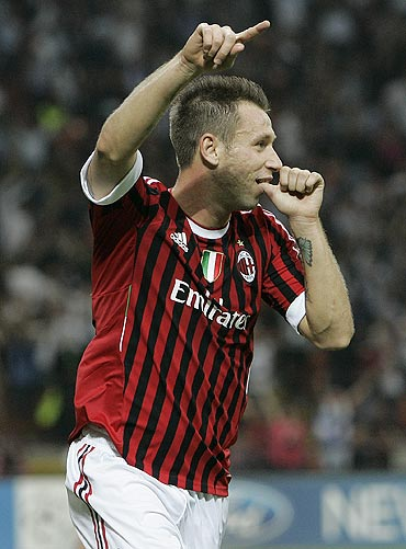 AC Milans' Antonio Cassano celebrates after scoring