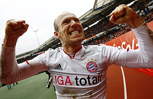 Arjen Robben, Dutch forward of Bayern Munich celebrates his winning goal after their Bundesliga match against FC Nuremberg in Nuremberg, on Saturday