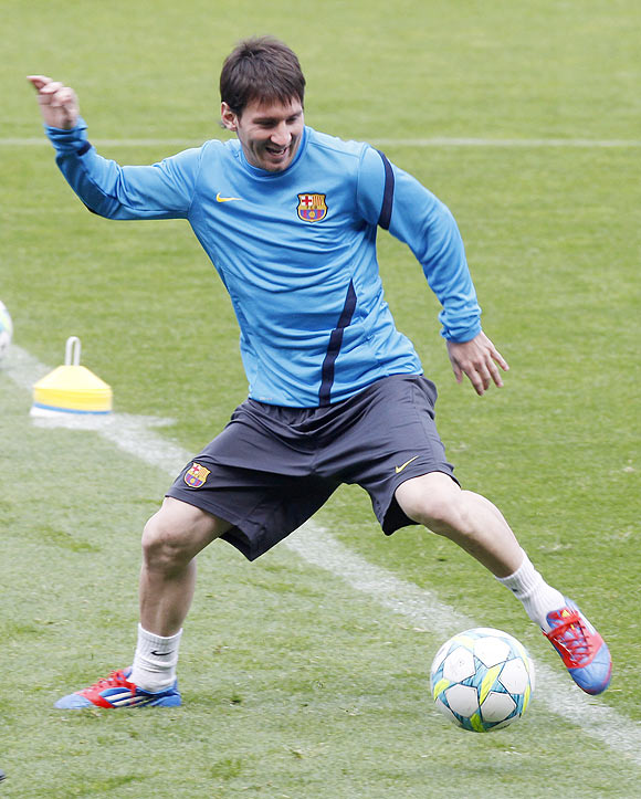 Barcelona's Lionel Messi during a training session at Nou Camp stadium in Barcelona on Monday
