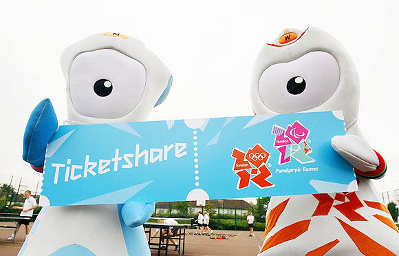 Olympic mascots pose for photographs