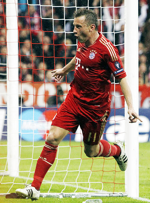 Bayern Munich's Olic celebrates goal during Champions League quarter-final match against Olympique Marseille in Munich