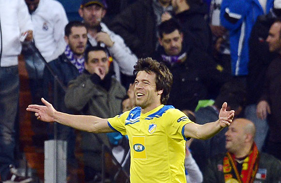 APOEL's Esteban Solari celebrates after scoring against Real Madrid on Wednesday