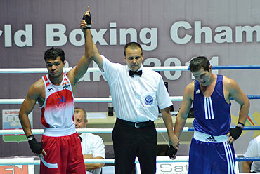 Vikas Krishnan Yadav (left) declared winner at World Boxing Championship