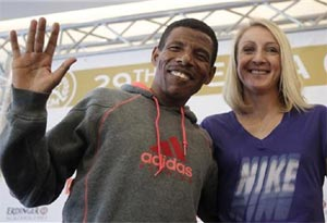 Paula Radcliffe with Haile Gebreselaisse